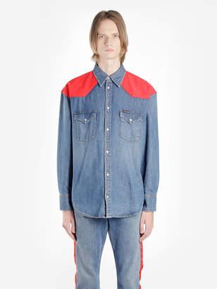 Calvin Klein CALIN KLEIN MEN'S LIGHT BLUE WASHED OVERSIZED FOUNDATION DENIM SHIRT