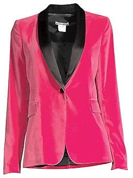 Alice + Olivia Women's Macey Contrast Shawl Collar Fitted Velvet Blazer