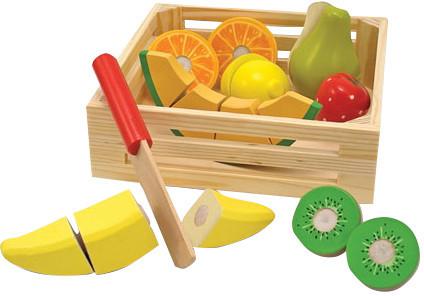 Melissa & Doug 18 Piece Play Food Cutting Fruit Crate Set