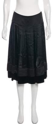 Chloé Velvet-Trimmed Silk-Blend Skirt