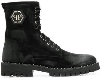 Philipp Plein logo plaque ankle boots