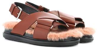 Marni Leather and mink fur sandals