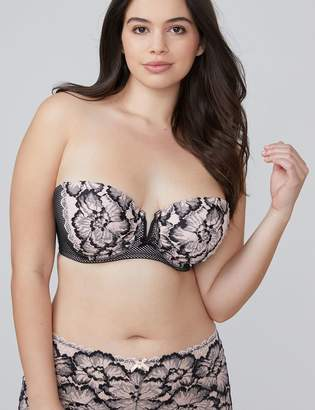 Lane Bryant Two-Tone Lace Lightly Lined Multi-Way Strapless Bra