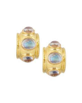 Elizabeth Locke Moonstone Cabochon Clip/Post Earrings