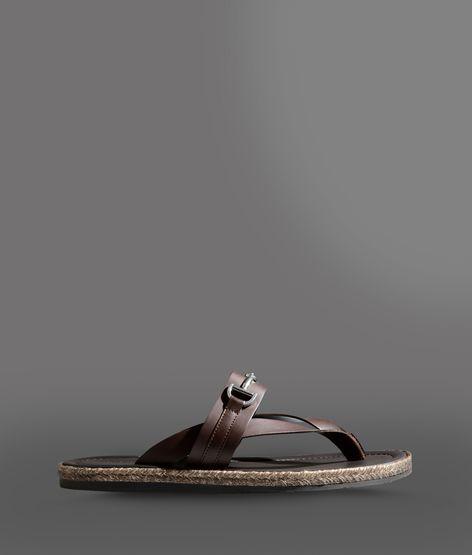 Giorgio Armani Thong Sandal In Vox Calfskin With Metal Buckle
