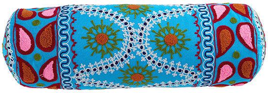 Pom-Pom Accent Pillow - Blue Bolster