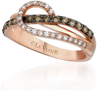 Le Vian Chocolatier LEVIAN CORP Grand Sample Sale by Ocean Wave Chocolate & Vanilla Diamonds Ring in 14k Strawberry Gold