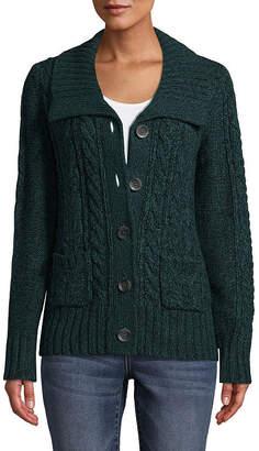 ST. JOHN'S BAY Womens U Neck Long Sleeve Button Cardigan