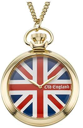 Old England Unisex Quartz Watch with Red Dial Analogue Display and Gold Plastic Strap Oe117Fb