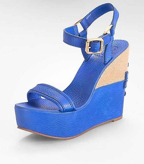 Tory Burch Leather Carlee High Wedge Sandal