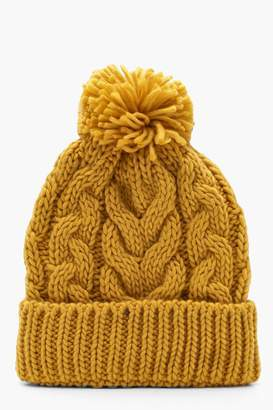 boohoo Cable Knit Beanie