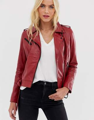 Barneys New York Barneys Originals coloured leather biker jacket in red