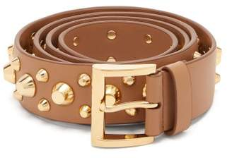 Prada Studded Leather Belt - Womens - Tan