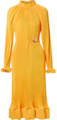 Tibi Belted Plissé-satin Midi Dress