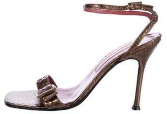 Sergio Rossi Metallic Python Sandals