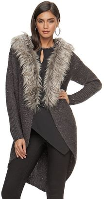 Women's Jennifer Lopez Faux-Fur Trim Long Cardigan $125 thestylecure.com