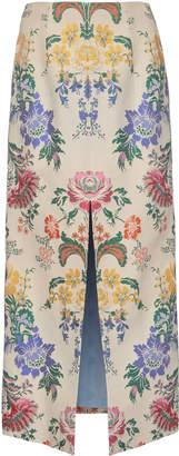 Carolina Herrera Front Slit Floral Cotton And Silk-Blend Midi Skirt