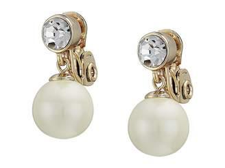 Lauren Ralph Lauren White Pearl Clip Drop Earrings
