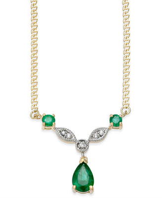 Macy's Emerald (9/10 ct. t.w.) & Diamond Accent Pendant Necklace in 14k Gold
