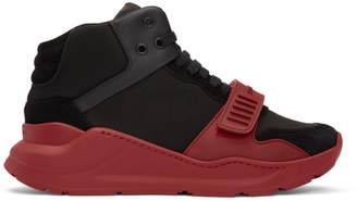 Burberry Black and Red Regis High-Top Sneakers