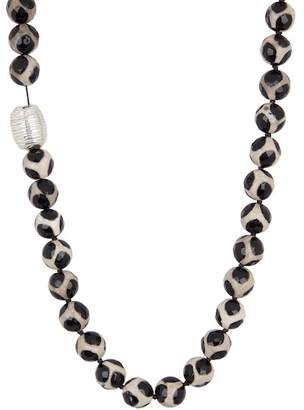 Simon Sebbag Sterling Silver Tortoise Agate Bead Necklace