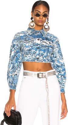 Off-White Off White Tapestry Crop Denim Jacket in Blue Wash | FWRD
