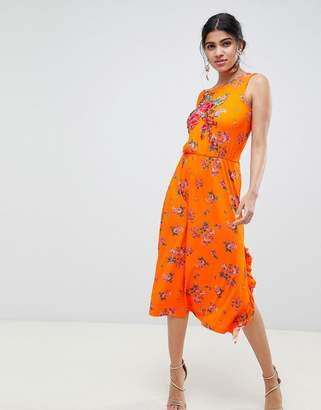 Asos DESIGN rose applique midi tea dress in floral print