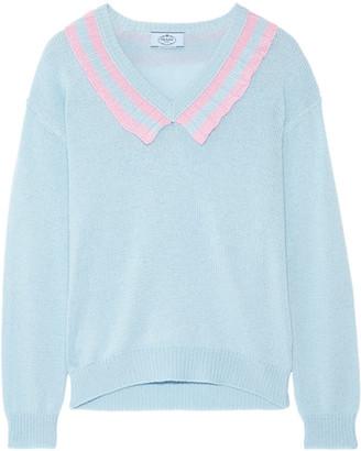 Prada - Ruffle-trimmed Two-tone Cashmere Sweater - Sky blue
