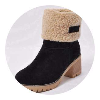 New-Loft-CA-leather wool Snow boots Boots Winter Shoes Fur Warm Snow Boots Square Heels bota Feminina Ankle Boots Botas Mujer B675s