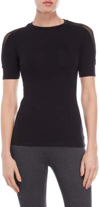 The Kooples Sport Black Mesh Trim Scuba Tee