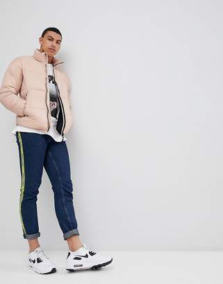 Pull&Bear Panelled Puffer Jacket In Pink