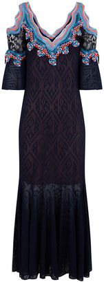 Navy Lace Jacquard Knit Midi Dress
