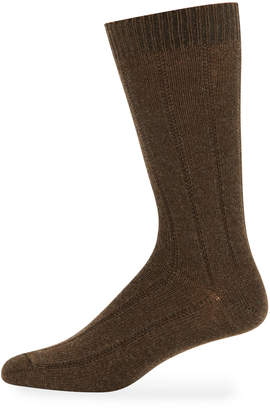 Neiman Marcus Men's Cashmere Dress Socks, Brown