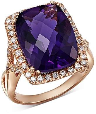 Bloomingdale's Amethyst Cushion & Diamond Statement Ring in 14K Rose Gold - 100% Exclusive