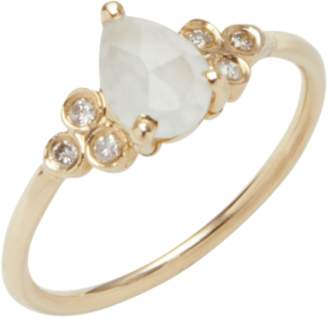 Jacquie Aiche Diamond Teardrop Aquamarine Ring