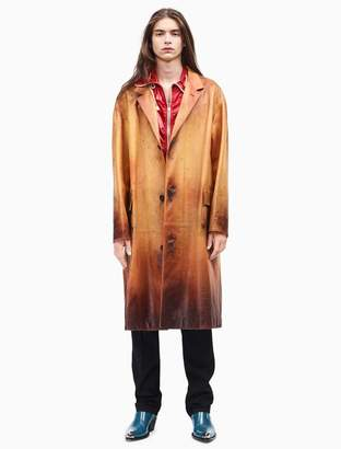 Calvin Klein distressed leather fireman coat