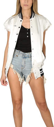 R 13 Sleeveless Misfit Varsity Jacket