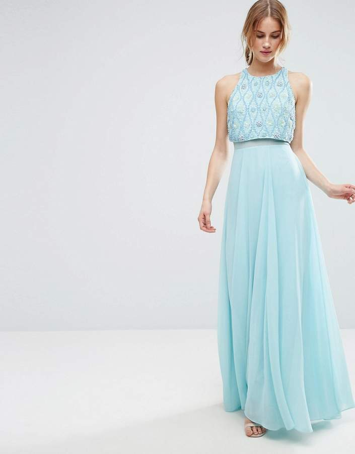 AsosASOS 3D Cluster Embellished Crop Top Maxi Dress