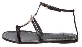 Tory Burch Round-Toe Patent Leather Sandals