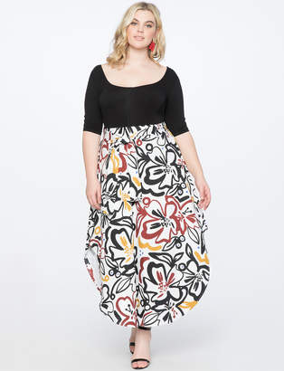 Asymmetrical Hem Printed Skirt with Tie