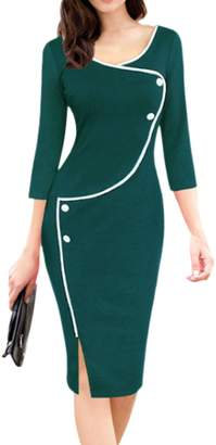 Zamtapary Women Elegant V-Neck 3/4 Sleeve Button Slit Pencil Midi Work Dress XL