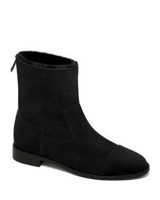Bougeotte Suede and Shearling Biker Booties, Black