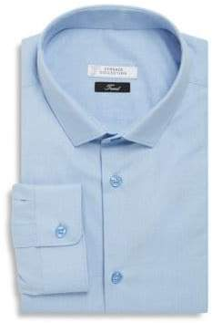Versace Solid Cotton Trend-Fit Dress Shirt