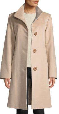 Fleurette Button-Front Wool Coat