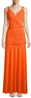 Halston Women's Full-Length Shirred Grecian Dress