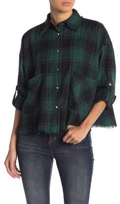 THYME & CLOTH Raw Edge Plaid Button Down Shirt