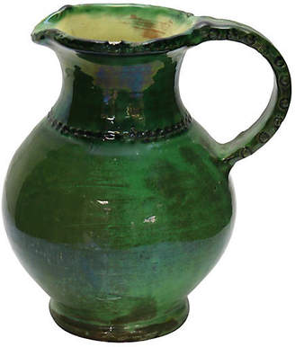 One Kings Lane Vintage Antique French Green Glazed Water Jug - Rose Victoria