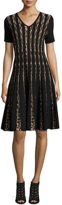 Carmen by Carmen Marc Valvo Short-Sleeve Leopard Birdseye Jacquard A-Line Dress, Black/Zoe Beige $245 thestylecure.com