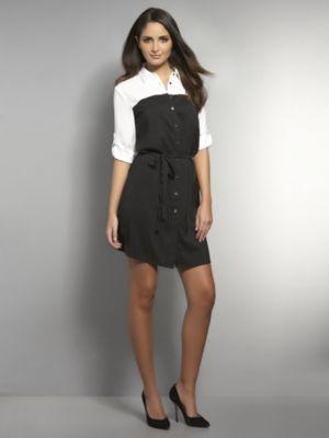 New York & Co. Silky Colorblock Shirtdress