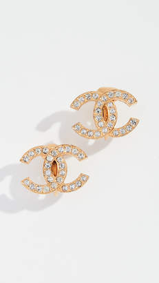 Chanel What Goes Around Comes Around Crystal CC Clip On Earrings